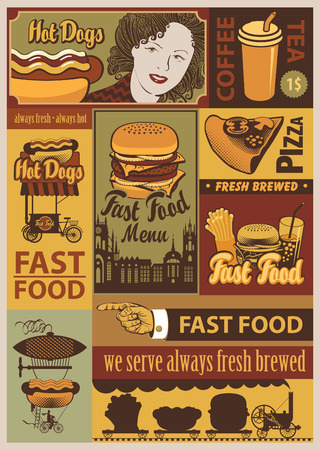 banners set on fast food in a retro style Çizim