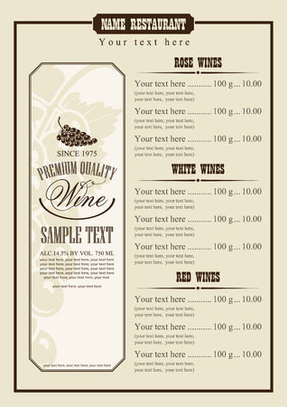 wine menu with a price list of different wines Vectores