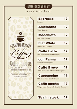 savor: menu list for coffee house with a cup of grain and