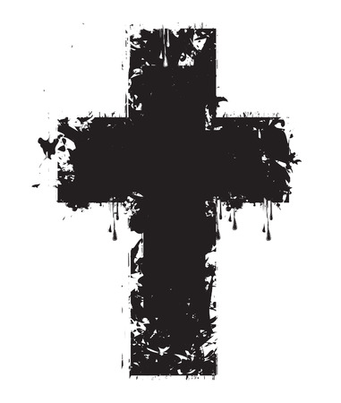 grunge cross: vector cross drops, splashes and stains
