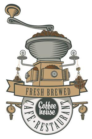 macinino caffè: logo per un caff� o un ristorante con un macinino da caff� e fagioli Vettoriali