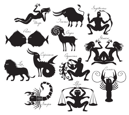archer fish: vector set of zodiac signs in the ancient style