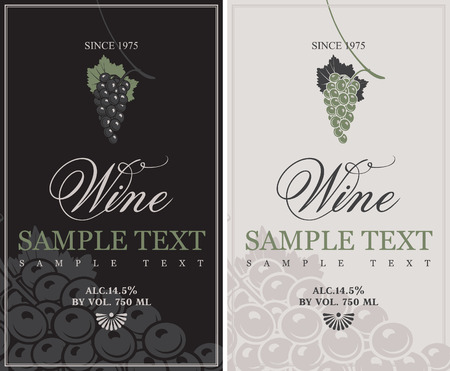 set of vector labels for wine with grapes