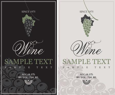 bottle liquor: conjunto de vectores de las etiquetas para el vino con las uvas Vectores