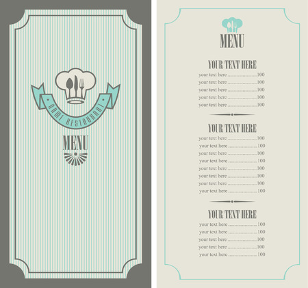 menu template with chef Vector