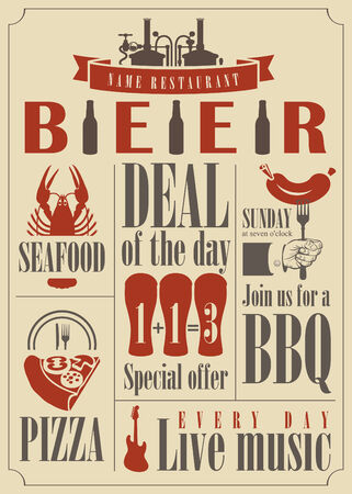 bbq barrel: vector for pub menu with different dishes and glasses of beer