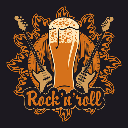 banner for the pub with live music with a beer keg and guitars