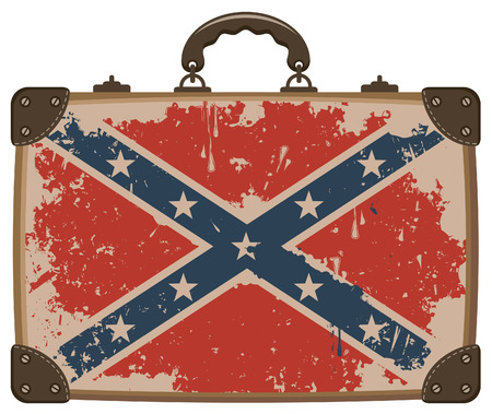 Confederate Rebel flag Grunge on an old suitcase Vector