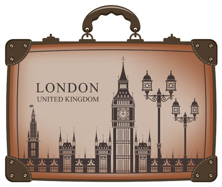 big ben: Travel suitcase with flag of Britain and Big Ben