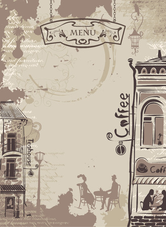 background texture with drops of coffee with drawings of houses in the old town Vector