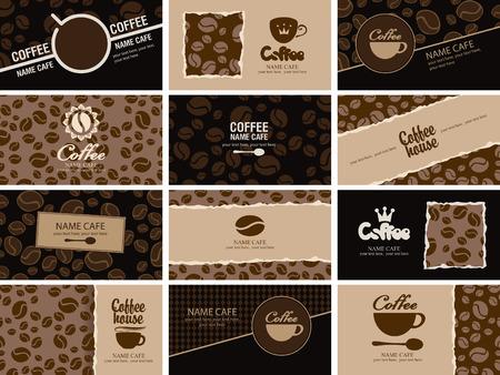conjunto de tarjetas de visita en la casa de café