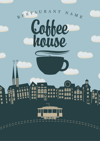 banner for the coffee houses of the old town and tram Vector