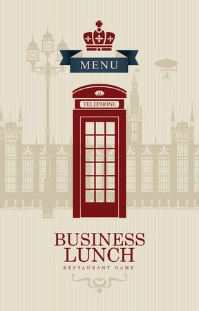 cabina telefonica: menú para almuerzos de negocios con cabina de teléfono y la creación de las comisiones del Parlamento británico Vectores