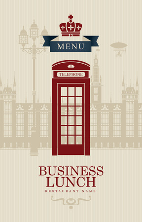 british foods: menu for business lunches with phone booth and building of the British Parliament Committees