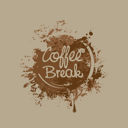 vector banner with the inscription on the background of coffee stains and splashes Illustration