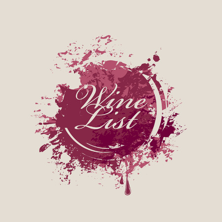 vector banner with spots and splashes of Wine list Иллюстрация