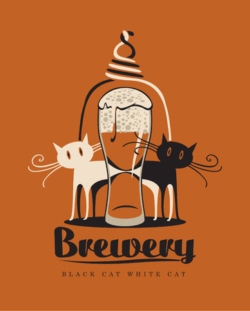 black cat and white cat with a glass of beer Vector