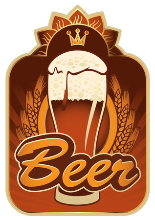labels for the beer in the brown gold color Illustration