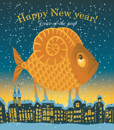 New year card with Sheep with the tail of a fish on a background of night city Vector