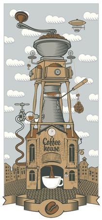 chocolatería: paisaje urbano con la casa retro café y molinillo y una taza con techo