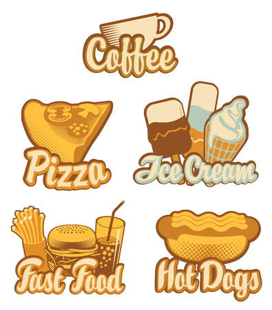 set emblems with coffee fast food pizza and ice cream in retro style Illustration