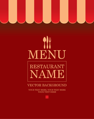 Store striped awning background for menu with cutlery