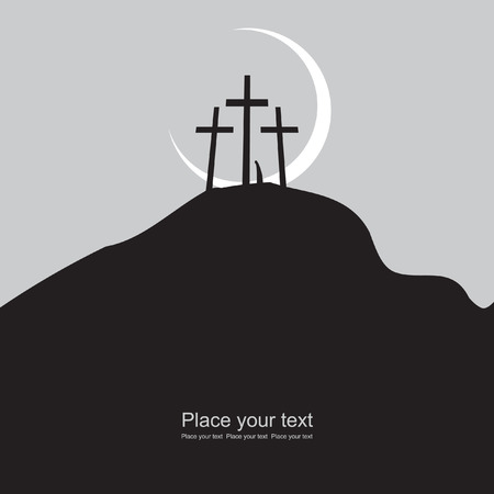 calvary: Mount Calvary with three crosses at night under the moon Illustration