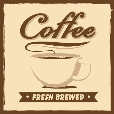filiżanka kawy: baner z filiżanki kawy w stylu retro Ilustracja