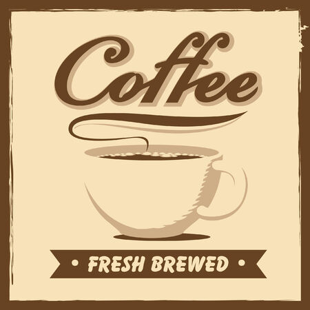 drinking coffee: banner with coffee cup in retro style