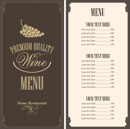 wine list with a bunch of grapes Illustration