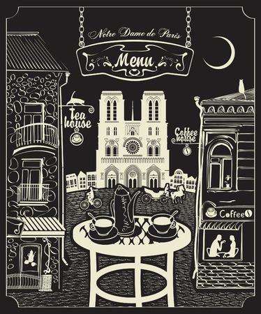 Cover for a menu with Parisian cafes and Notre Dame de Paris Vector