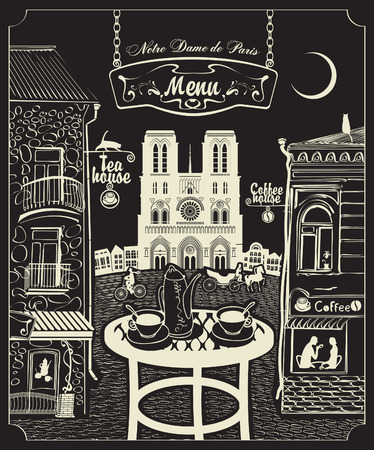 shop window: Cover for a menu with Parisian cafes and Notre Dame de Paris
