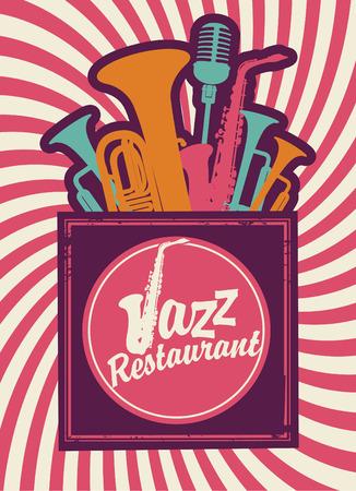 wind instrument: banner for jazz restaurant with wind instruments