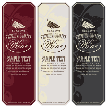 wine label: set of vector labels for wine with grapes