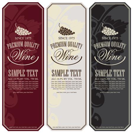 vintage etiket: set van vector labels voor wijn met druiven