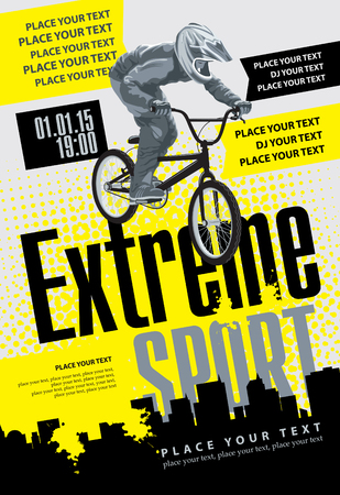 brave of sport: cyclist labeled extreme sports on urban landscape Illustration