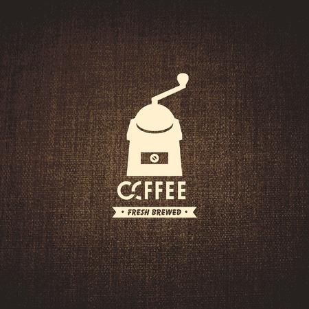 macinino caffè: banner vettoriale con trama del tessuto e un emblema di macinino da caff� Vettoriali