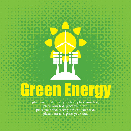 solar wind: vector concept of green energy with solar panels and wind turbines