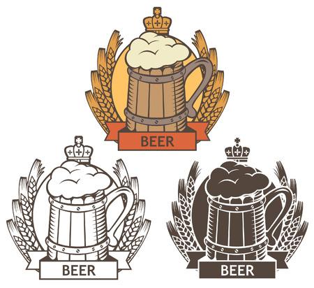 bottle label: set of emblem with a wooden beer mug and wheat wreath Illustration