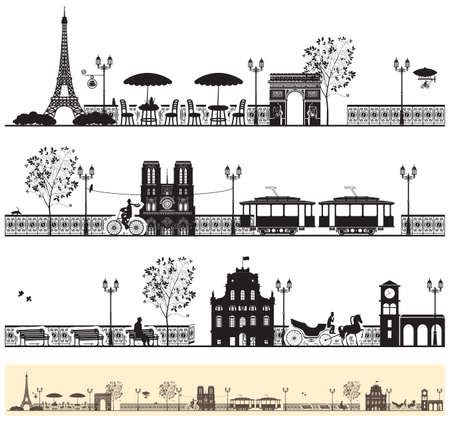 seamless frieze with the Paris streets and architectural sights Illustration