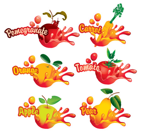 pomegranate juice: set of drawings with the names of fruits and juice splashes