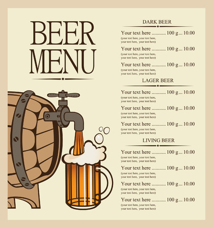 vector menu for beer keg and glasse