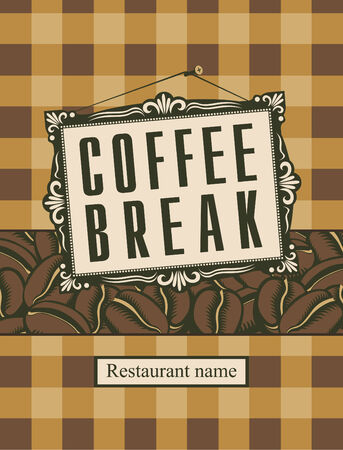 savor: retro banner with a picture frame and the word coffee break and grains Illustration