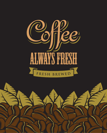 savor: retro vector banner with coffee beans Illustration