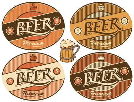 four labels for beer in a retro style Vector