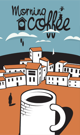 sidewalk cafe: coffeescene with a cup of coffee in town by the sea
