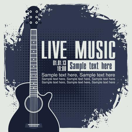 Banner mit einer akustischen Gitarre auf Grunge blauen Hintergrund