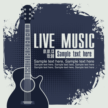 banner with an acoustic guitar on grungy blue background