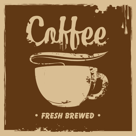 savor: banner with a cup of coffee and a splash Illustration