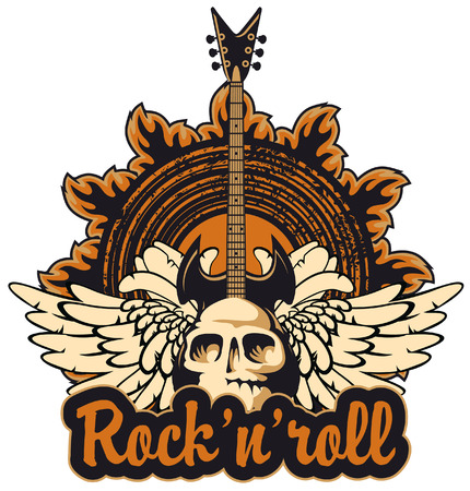 poster for a rock concert with a human skull and electric guitar
